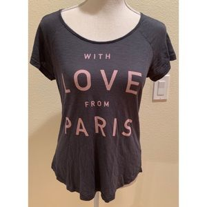 """Sundry """"With Love From Paris"""" Gray Burnout Tee,S"""